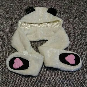 Other - Girl's panda hat with attached scarf & mittens